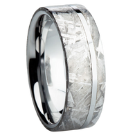 8 mm Titanium with Meteorite Inlay Wedding Ring - A105M