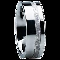 8 mm Unique Mens Wedding Bands in Titanium with Meteorite Inlay - E118M