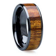 8 mm Unique Mens Wedding Bands - Black Ceramic & KOA wood Inlay - BC121M