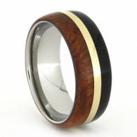 8 mm African Blackwood/Amboyna Wood with 14 kt Gold in Titanium - A732M