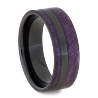 8 mm Mens Wedding Bands - Black Ceramic/Box Elder wood Inlay - PBE103M