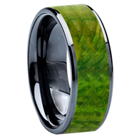 8 mm Wedding Bands - Black Ceramic & Green BEB Wood Inlay - BC115M-GreenBEB