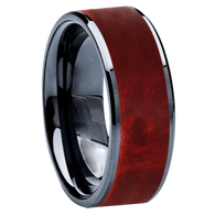 8 mm Wedding Bands - Black Ceramic & Red BEB Wood Inlay - BC115M-RedBEB