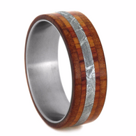 8 mm Meteorite/Cedar/Tulip wood Mens Wedding Bands in Titanium - TW215M