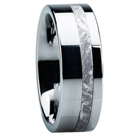8 mm Meteorite Mens Wedding Bands in Tungsten - TM204M