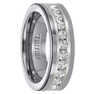 1 cwt Diamond Unique Mens Wedding Bands in Silver/Tungsten - A308C