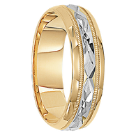 6mm Unique Mens Wedding Bands in 10kt. Two-tone Gold - Dublin-10