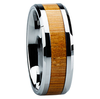 8 mm Unique Mens Wedding Bands in Titanium with Bamboo Inlay - Z120M