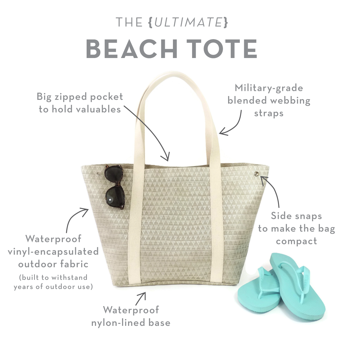 Beach Tote | Seashell | Waterproof & Stylish | Spicer Bags