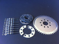 48 tooth rear sprocket with mounting gear good for 48cc, 60cc, and 70cc center mount, 31cc, and 49cc rear drive....moderate to steeper hill climbing...or heavier riders.