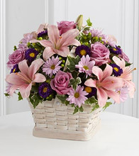 funeral flowers in a basket