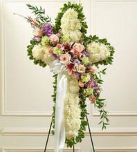 funeral cross of flowers