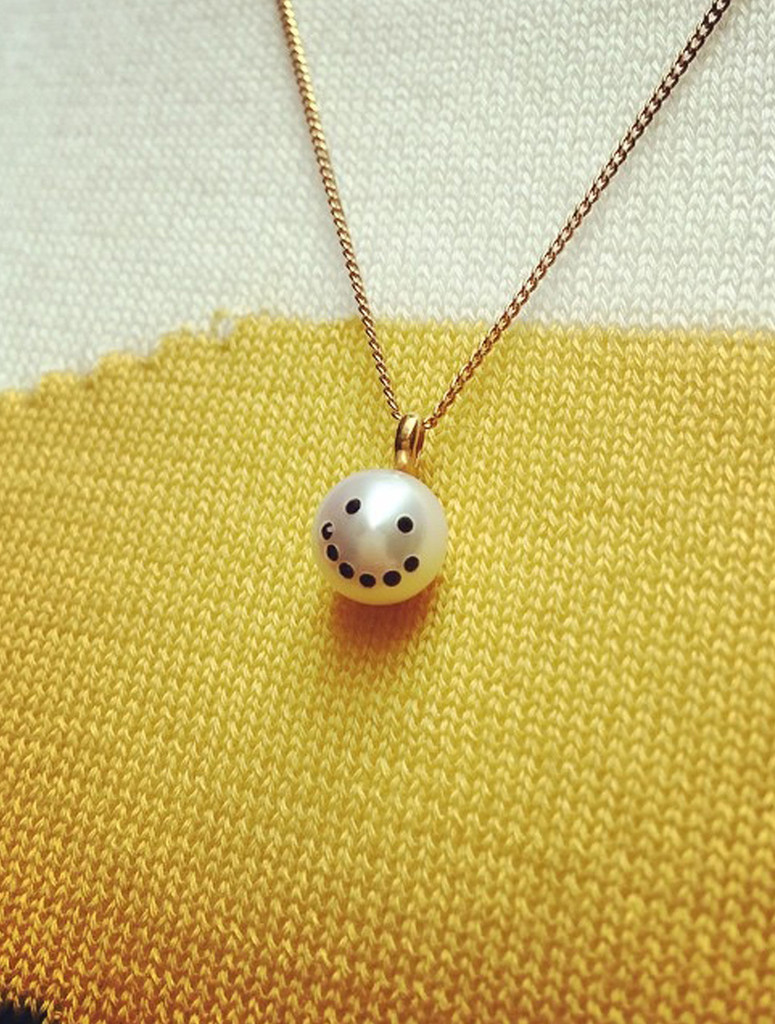 A Jewelry Design Staple Cultured Freshwater Pearl Charm Pendant Necklace  With Smiley Emoji Diamond Pave
