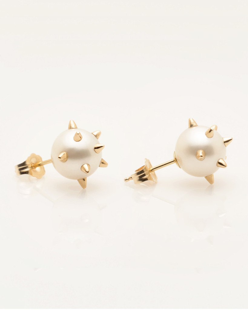 Cultured Freshwater Pearl Earrings with 14k Gold Spikes & Post  by Jewelry Designer Nektar De Stagni (8-9mm). Side View