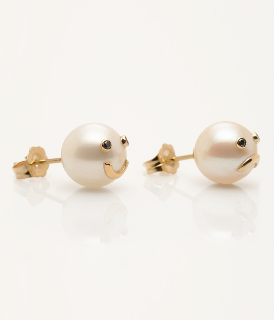 Side View of Cultured Freshwater Pearl Earrings with 14k Gold & Black Diamond Smiley Drama Emoji by Nektar De Stagni (8-9 mm)