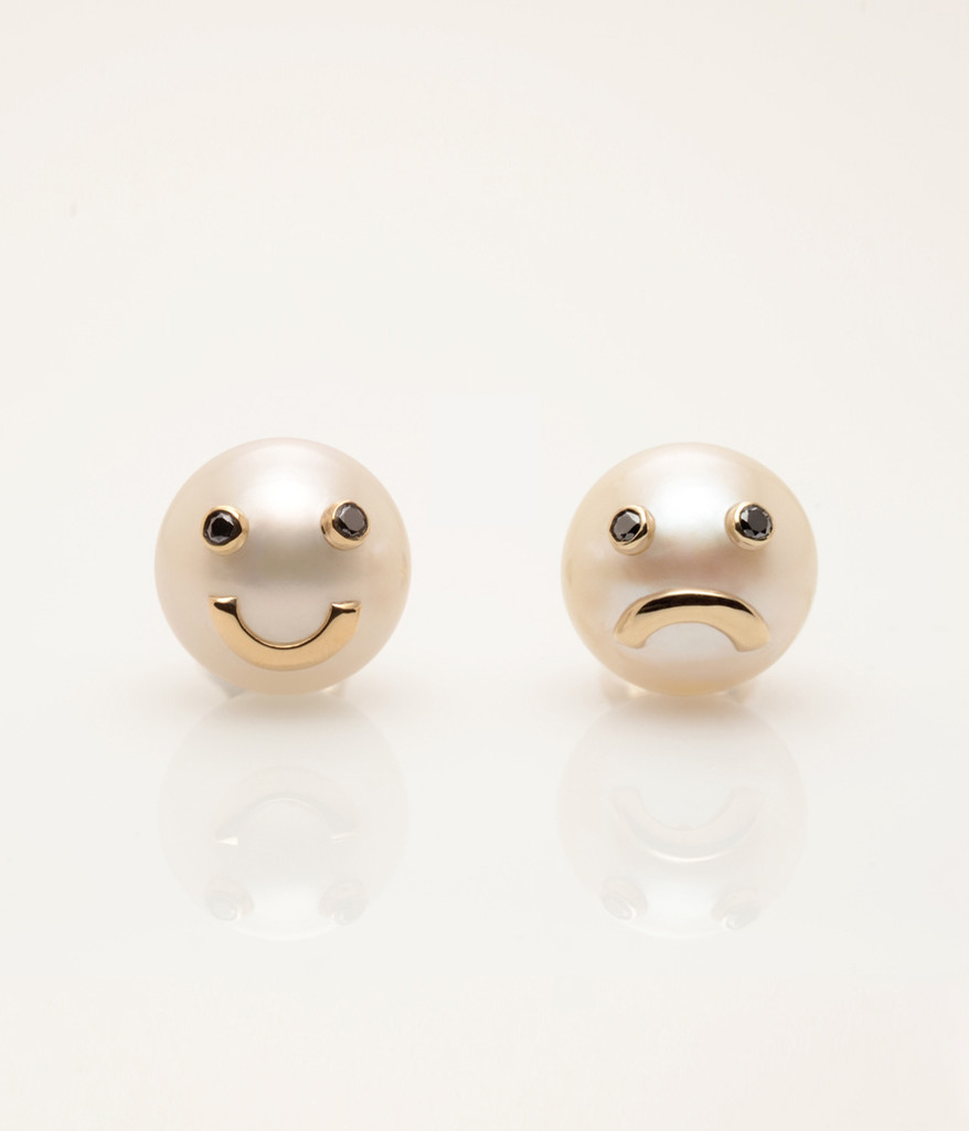 Cultured Freshwater Pearl Earrings with 14k Gold & Black Diamond Smiley Drama Emoji by Nektar De Stagni (8-9 mm)