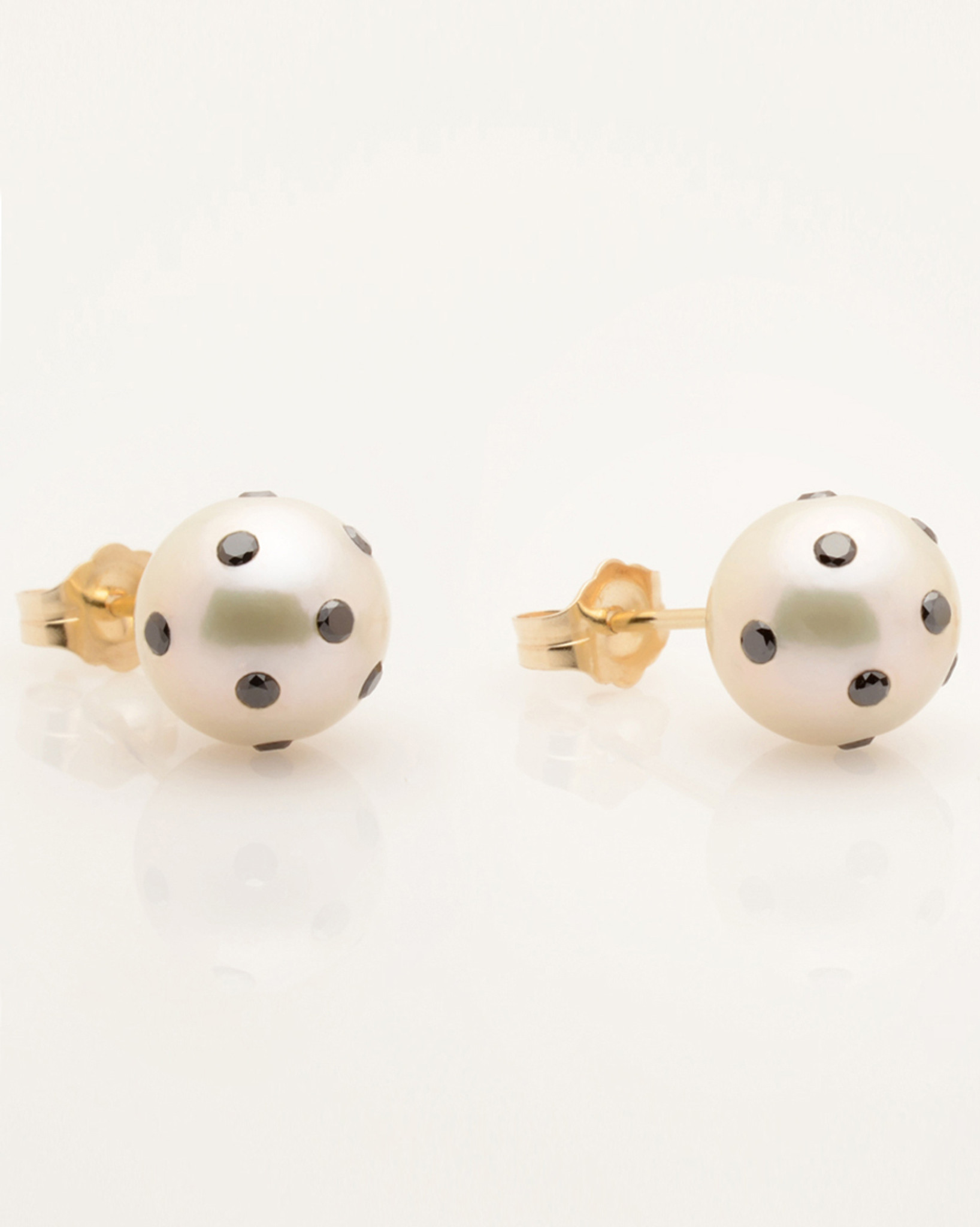 Cultured Freshwater Double White And Black Pearl Earrings With Ladybug  Diamond Pave And 14k Gold Posts By