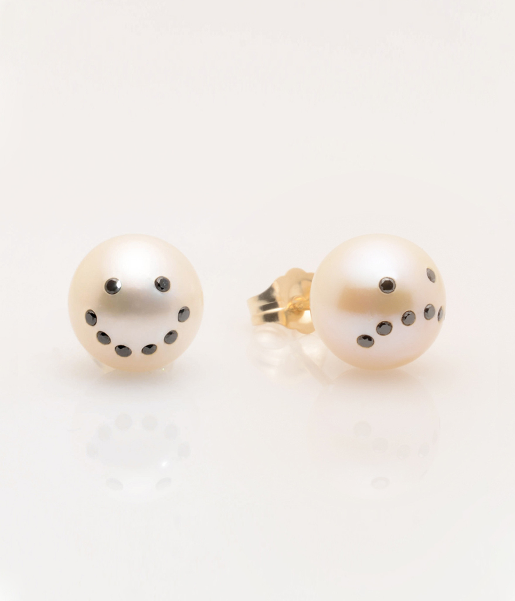 View 2 Of Cultured Freshwater Pearl Earrings With Smiley Drama Emoji  Diamond Pavè & 14k Gold