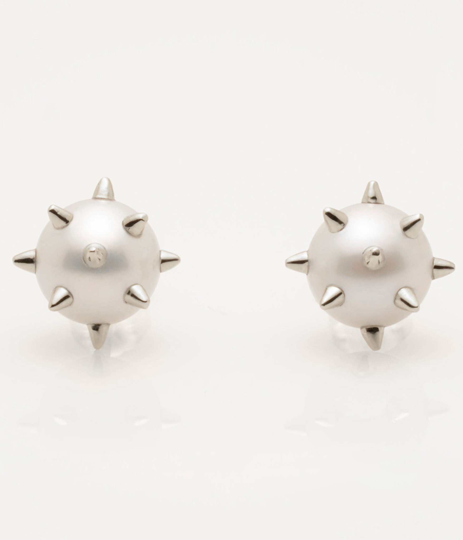 Cultured Freshwater Pearl Earrings With Sterling Silver Spikes & Post By  Jewelry Designer Nektar De Stagni