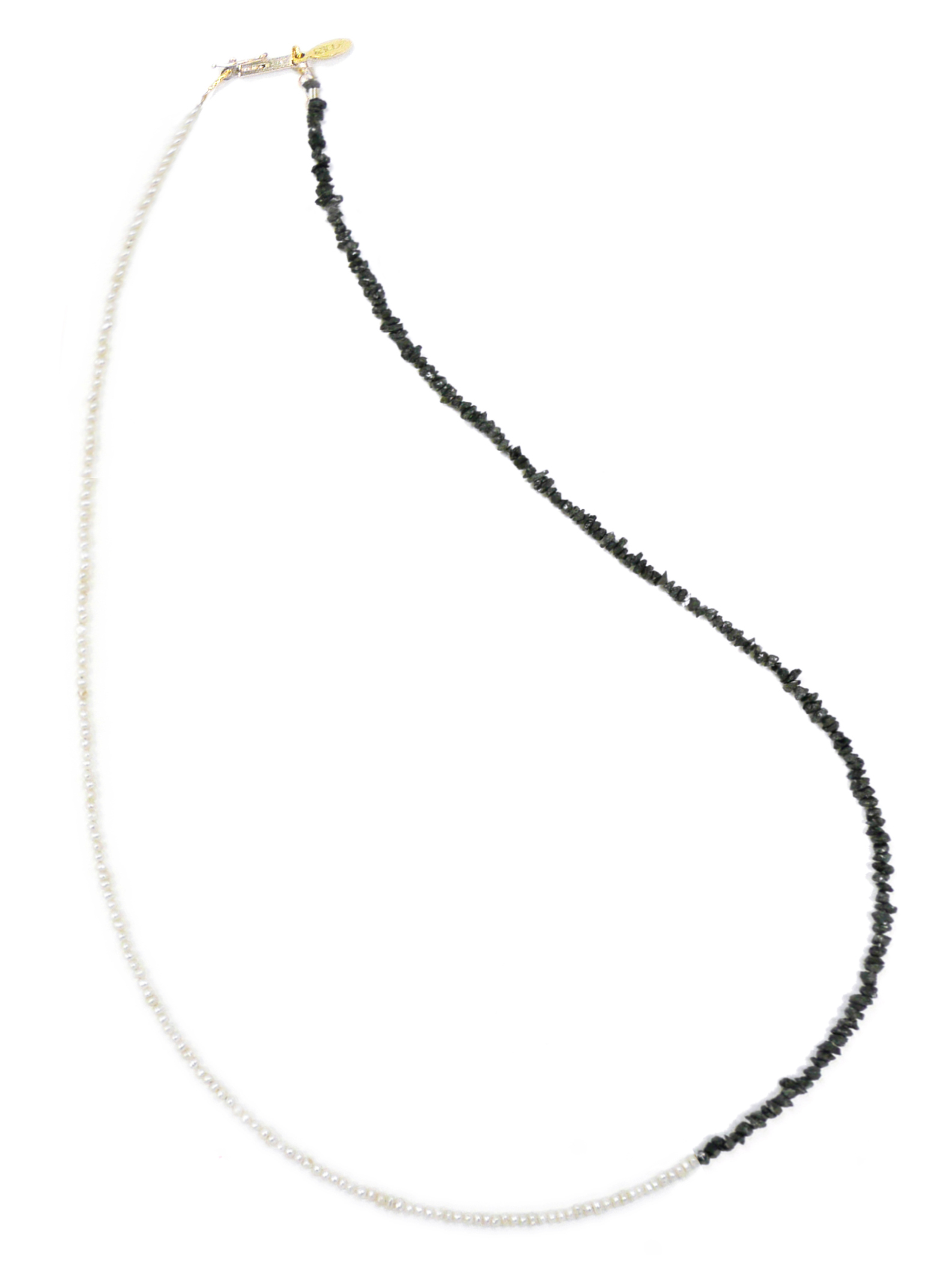 Delicate BLACK DIAMOND AND PEARL Necklace Jewelry by Nektar De Stagni May also be worn as bracelet