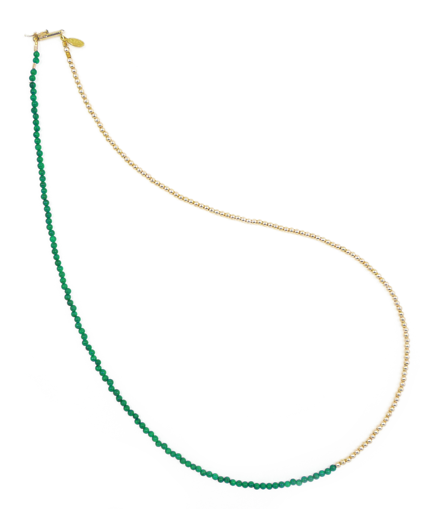 Delicate Malachite and Gold Bead Necklace Jewelry by Nektar De Stagni May also be worn as bracelet