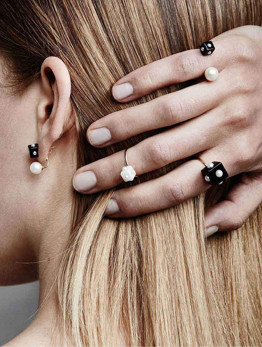 Pearl Rings with Onyx, 14k Gold and more unique Fine Jewelry by Designer Nektar De Stagni