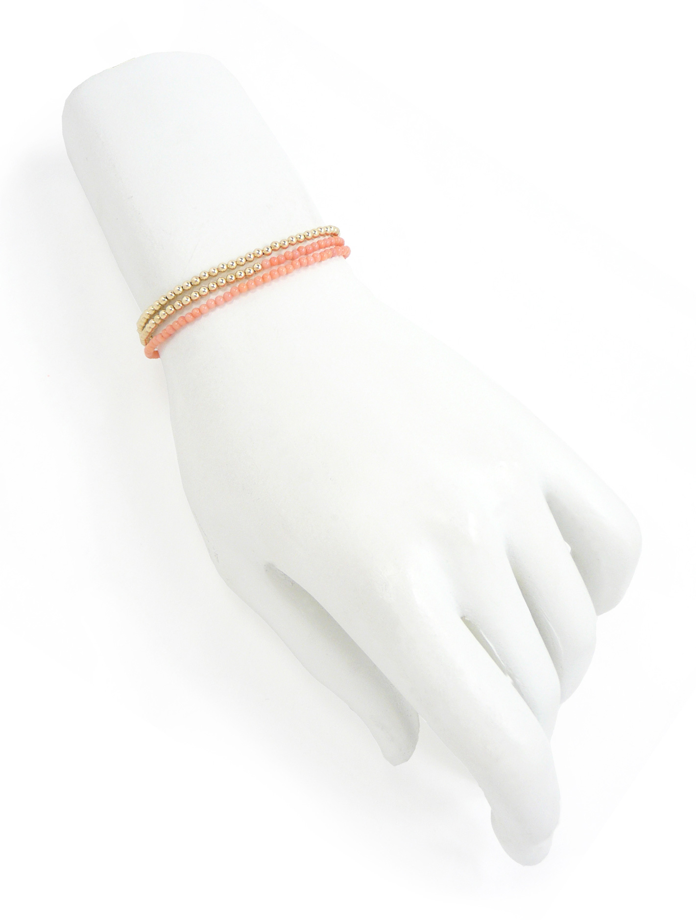 Delicate Pink Coral and Gold Bead Necklace Jewelry by Nektar De Stagni May also be worn as bracelet