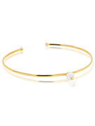 Cultured Freshwater Pearl Choker Necklace with Spikes in 14k Gold by Jewelry Designer Nektar de Stagni (8-9mm)