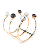 LadyBug Diamond Black and White Pearl Cuff by Nektar De Stagni
