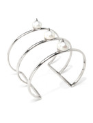 Cultured Freshwater Pearl Cuff Bracelet with Spikes in 925 Sterling Silver by Jewelry Designer Nektar de Stagni (8-9mm)