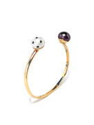 LadyBug Diamond & Black Pearl Cuff by Nektar De Stagni