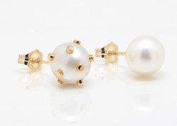 Cultured Freshwater Double Pearl Earring with 14k Gold Dots and Post by Jewelry Designer Nektar De Stagni (8-9 mm)