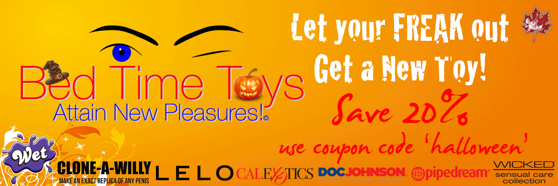 Halloween Sex Toy Sale, Bed Time Toys, Sex Toys Canada