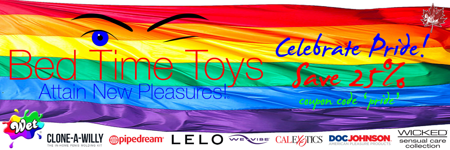 Bed Time Toys, Gay Pride Sale, Sex Toys, Canada