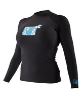 2013 Body Glove Basic Long Arm Womens 6oz Lycra Rashguard Black - Front