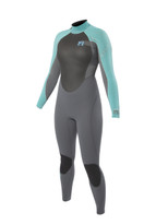3/2mm Womens Vibe Full Wetsuit Ash/Turquoise - Front