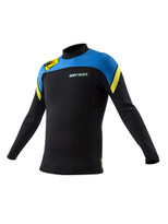 The New Body Glove 1mm Super Rover L/A Surf Top in Blue yellow - front