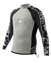 Super Rover 1mm L/A Surf Shirt in Silver/Black - Front