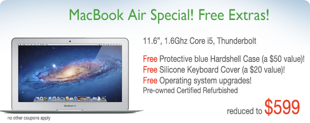 """11"""" 1.6Ghz i5 Macbook Air with free hardshell case for only $599!"""