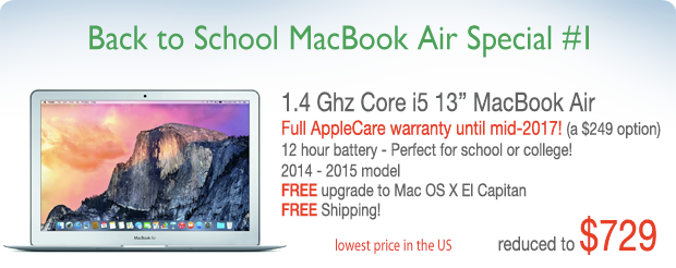 Lowest price in the US! 13 inch Macbook Air with Applecare for only $749 shipped!