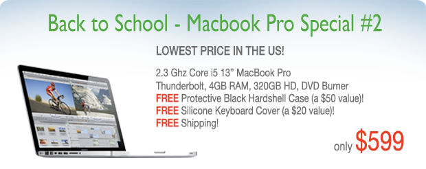 2.3Ghz 13 inch Macbook Pro with Case from only $599 shipped!
