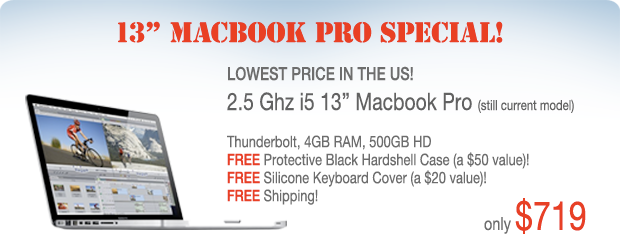 3 Days Only! 13 inch 2.3Ghz Core i5 Macbook Pro with FREE case for only $719 shipped!