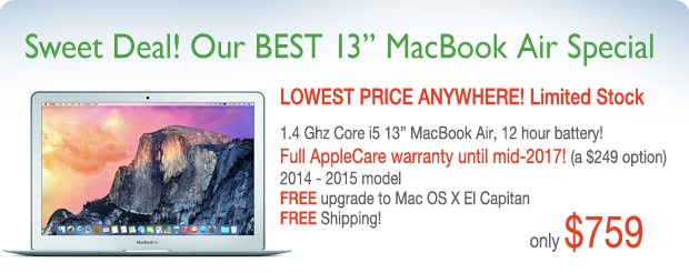 Lowest price in the US! 13 inch Macbook Air with Applecare for only $759 shipped!