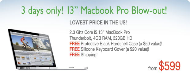 Flash Sale! 2.3Ghz 13 inch Macbook Pro with Case for only $599 shipped!