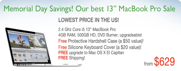 Graduation Special! 2.4 Ghz 13 inch Macbook Pro with Case for only $639 shipped!