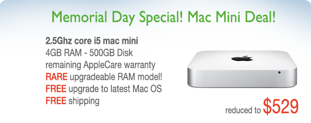 Memorial Day Special! 2.5Ghz Mac Mini with AppleCare for only $529 shipped!