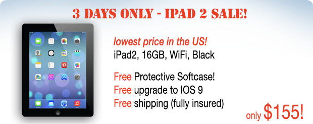 iPad 2 with free case for only $155 shipped!