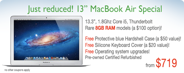 """13"""" 1.8Ghz Macbook Air with 8GB RAM, free hardshell case for only $749!"""