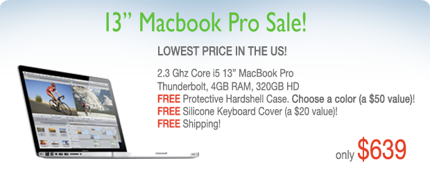 13 inch Macbook Pro Blowout! 2.3 Ghz Core i5 with FREE case for only $639 shipped!