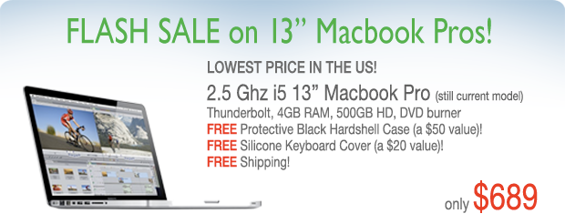 3 Days only! 2.5Ghz Core i5 Special with Free Hardshell Case for only $689 shipped! Current Model!